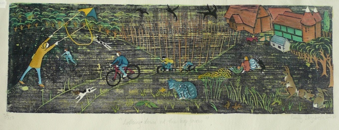 Looking down at the hop garden - 26 x 8.5 inches. £195.00 (unframed) or £280.00 (framed).