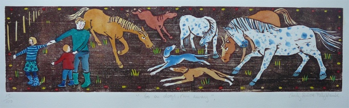 Go on dogs, run away - 17.5 x 4.5 inches. £70 (unframed) or £110 (framed).