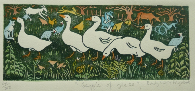 Gaggle of geese - 9 x 4 inches. £40(unframed) or £95 (framed).