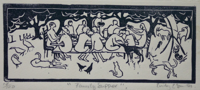 Family Supper - 8 x 3.5 inches. £50 (unframed) or £120 (framed).