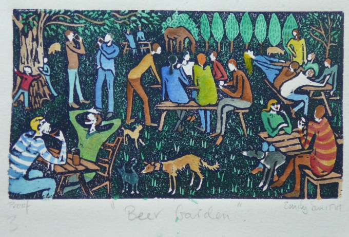 Pub garden - 7.5 x 4 inches. £50(unframed) or £95 (framed).