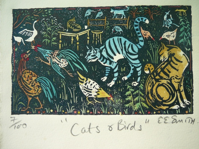 Birds & Cats - 4 x 6.5 inches. £50 (unframed) or £95.00 (framed).