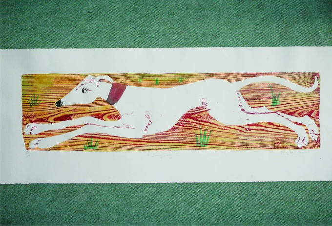 Long Dog - 33 x 8.5 inches. £180.00 (unframed) or £260.00 (framed).