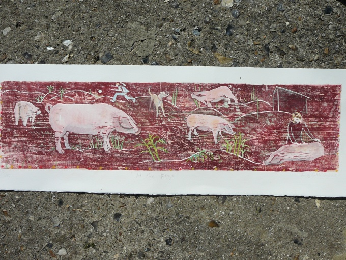 At the pigs. - 32x8.5 inches (£110 unframed) (£215 framed