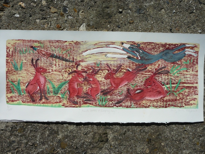 March hares & leaping dog.RA 2011 - 27x9 inches (£100 unframed) (£200 framed)