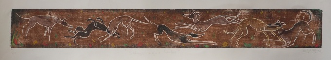 Sibling rough and tumble. - RA 2015. Framed 550 unframed 340 pounds Approx size 150x40cm