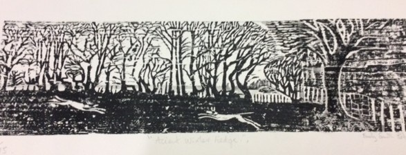 Ancient winter hedge - 9x24 inches (£95 unframed £150 framed0